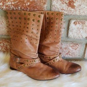 Aldo brown leather embellished flat boots